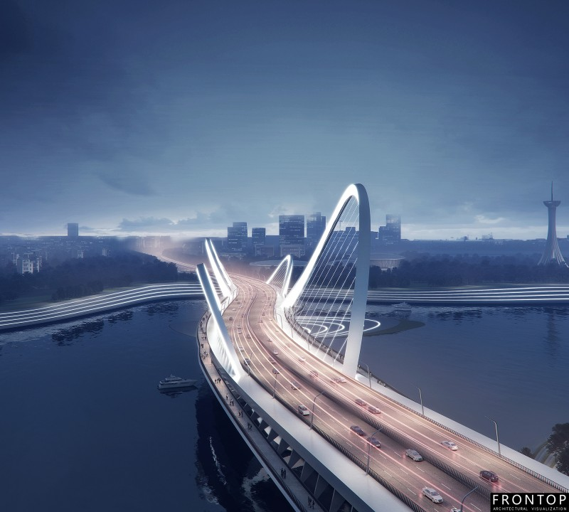 Free sample for 3d Building Rendering -<br />  Binhai Bay Bridge - Frontop